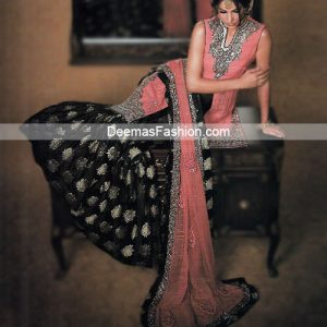 Latest Pakistani Bridal Wear - Pink Black Gharara