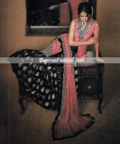 Latest Pakistani Bridal Wear - Pink Black Gharara