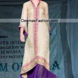 Latest Formal Wear Collection - Beige Purple Sharara