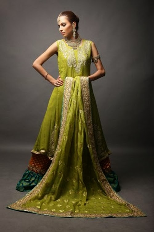 Buy Pakistani Clothes - Mendi Green Bridal Wear Gharara