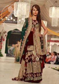 Fawn Front Open Back Trail Gown – Embroidered Lehenga – Bottle Green Dupatta