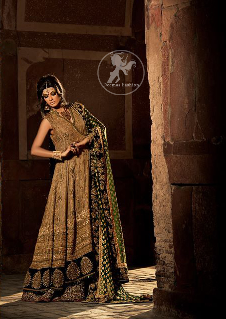 Heavy Bridal Fawn Andrakha Style Frock with Bottle Green Lehnga and Dupatta