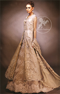 Designer-Collection-2016-Fawn-front-open-gown-and-lehnga
