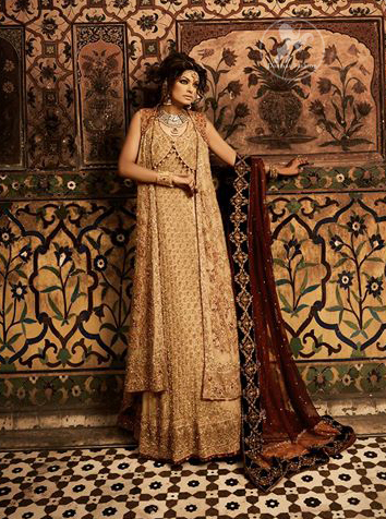 Light Gold Double Layer Gown and Lehnga with Maroon Dupatta for Barat