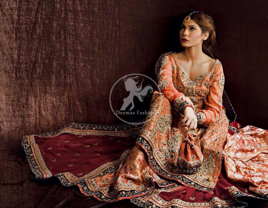 Rust Orange Pure Chiffon Shirt with Maroon Dupatta & Brocade Sharara