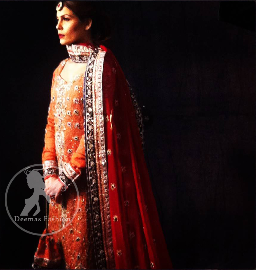 Rust Orange Pure Chiffon Shirt with Maroon Dupatta