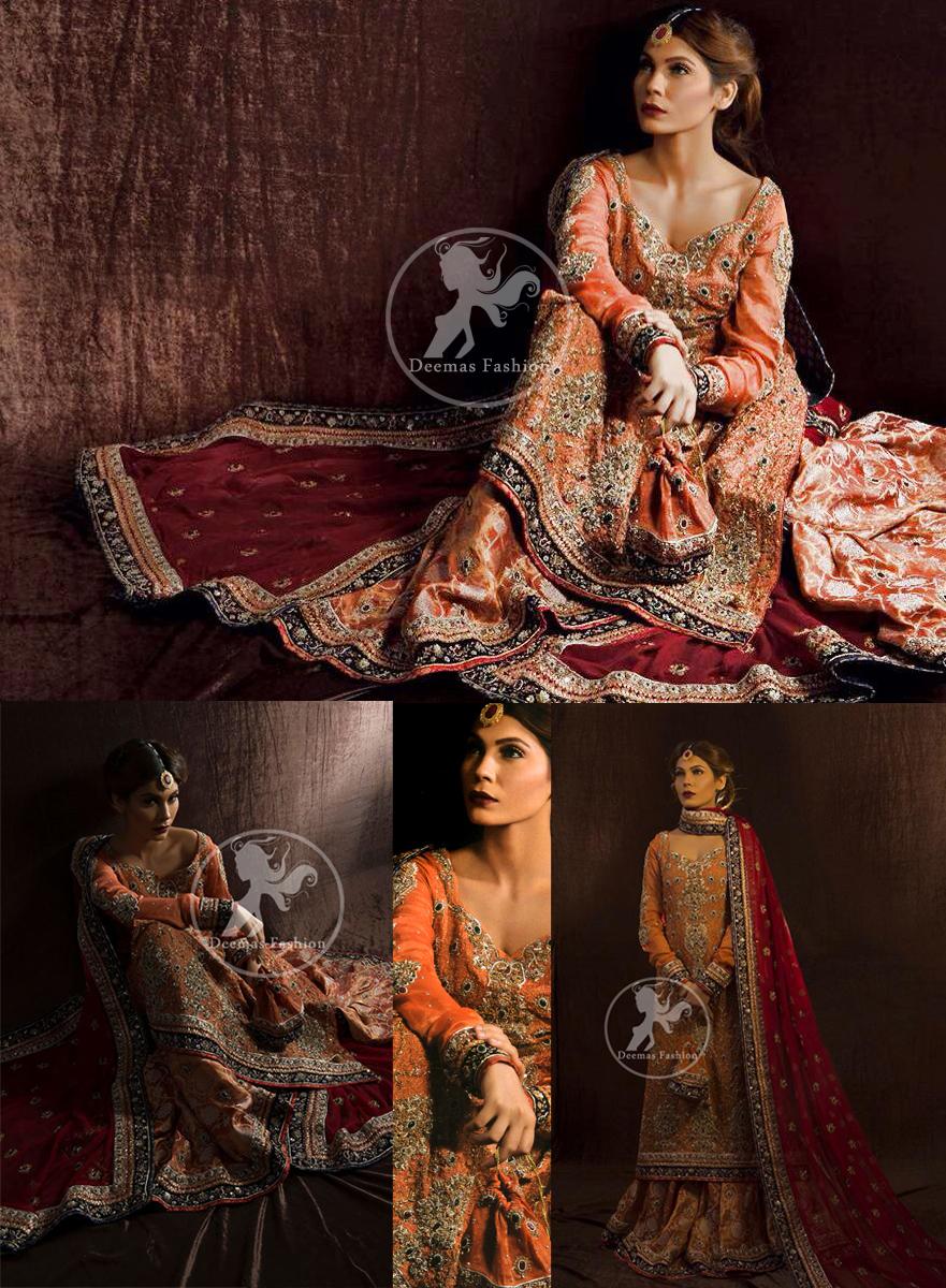 Rust bridal shirt - Maroon Dupatta - Brocade Sharara