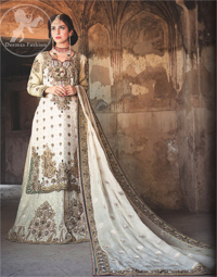 White Heavy Shirt Lehnga for Walima