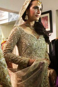 Bridal Dress 2017 - Beige Anarkali Pishwas - Lehenga