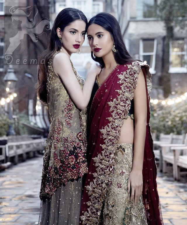 Bridal Wear Black Velvet Blouse With Fawn Embroidered Skirt And Deep Red Dupatta 2016