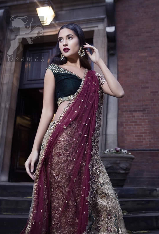 Black Velvet Blouse With Fawn Embroidered Skirt And Deep Red Dupatta For Bridal Day