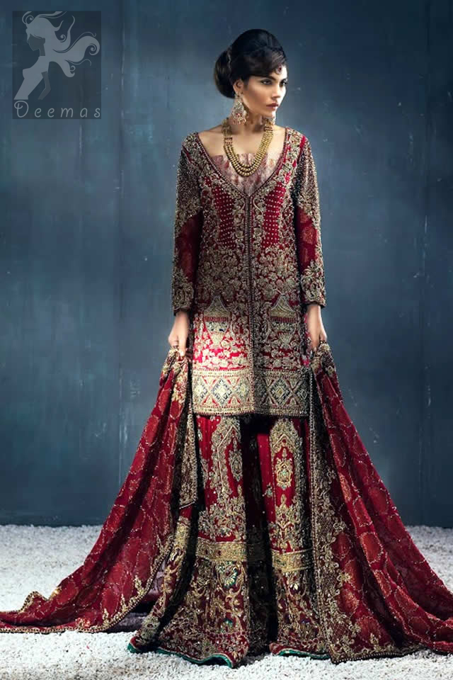 Latest Bridal Wear Deep Red Heavy Embroidered Shirt with Sharara and Dupatta