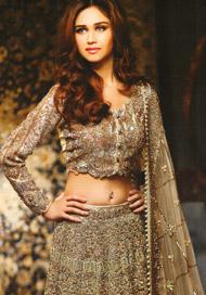 Light Fawn Heavy Bridal Lehengha - Blouse - Embroidered Dupatta