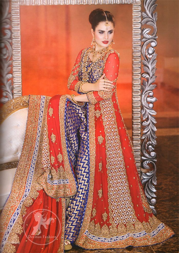 Bright Red Front Open Gown with Dupatta - Royal Blue Banarsi Shirt - Sharara