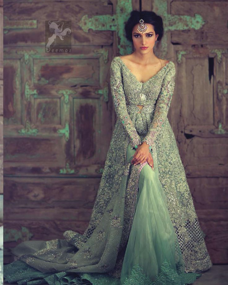 Mint Green Front Open Heavy Embroidery Gown For Bride With Back Trail Lehenga and Dupatta