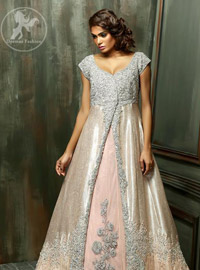 Pale Peach Front Open Back Trail Double Layer Gown