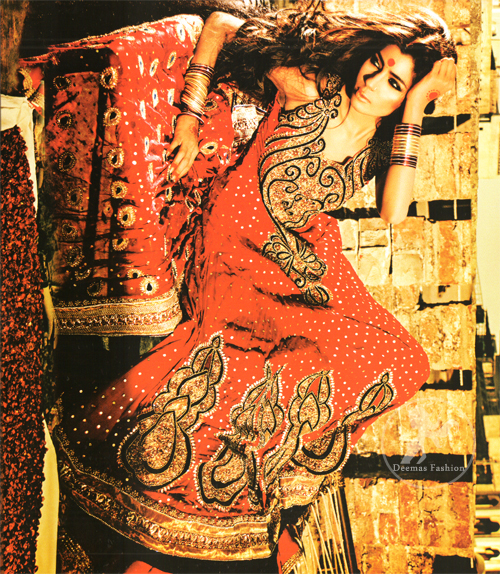 Bright Red Anarkali Frock With Embellished Dupatta