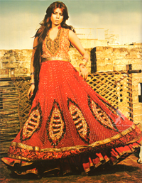 Bright Red Anarkali with Embellished Dupatta
