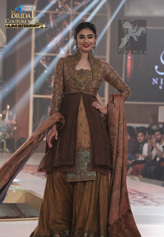 Brown Party Wear Short Shirt - Jacket - Sharara