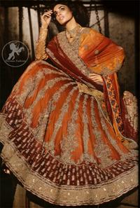 Deep Orange - Red Heavily Embroidered Bridal Lehenga For Baarat