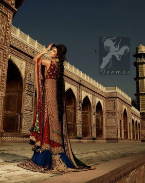 Deep Red Double layer Shirt and Dupatta with Royal Blue Lehenga