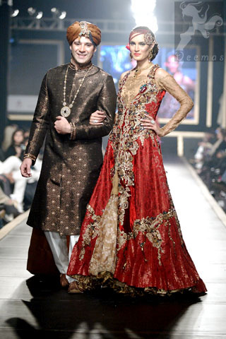 Latest Pakistani Designer Wear Deep Red and Golden Double Layer Front Open Long Bridal Dress 2016
