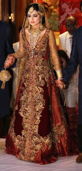 Golden and Deep Red Double Layer Front Open Long Bridal Wear 2016