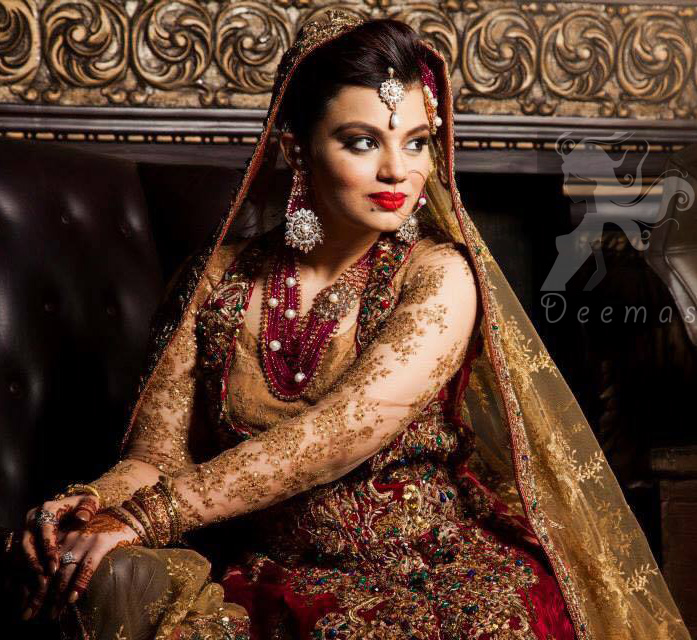 Latest Designer Collection Deep Red and Golden Double Layer Front Open Long Dress 2016