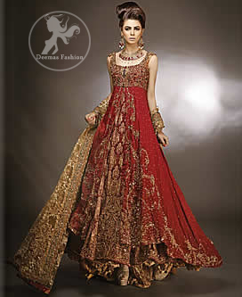 Latest Designer Wear Red Double Layer Front Open Heavy Bridal Gown With Golden Sharara