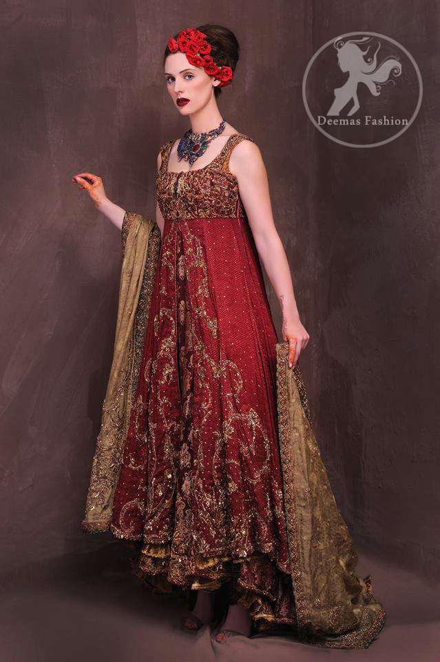 Latest Pakistani Designer Wear Red Double Layer Front Open Heavy Bridal Gown With Golden Sharara