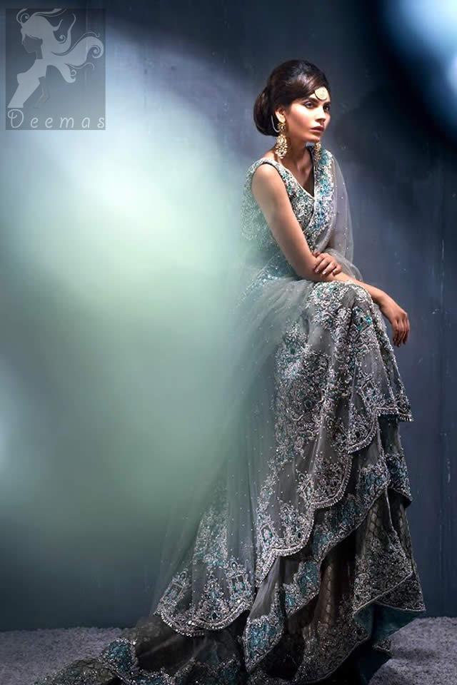 Designer Wear Light Grey Double Layer Back Trail Frock Lehenga Dupatta