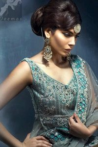 Light Grey Double Layer Back Trail Frock Lehenga Dupatta