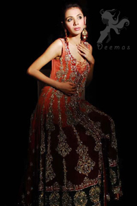 Double Tone Front Open Bridal Gown – Embroidered Sharara