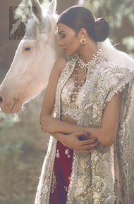 Ivory Bridal Blouse Gown and Dupatta with Deep Red Lehenga