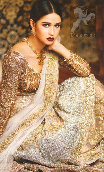 Ivory White Fawn Blouse Bridal Lehenga 2016 With Embroidered Dupatta