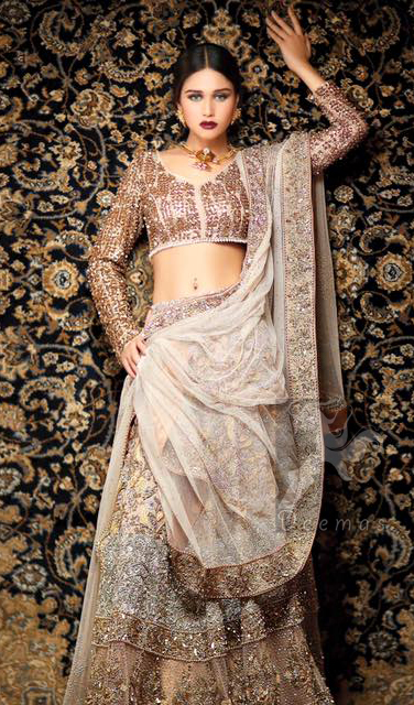 Latest Bridal Ivory White Fawn Blouse and Lehenga and Embroidered Dupatta