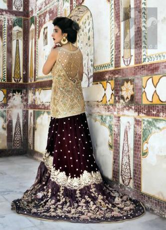 Latest Bridal Wear 2016 Light Golden Short Shirt with Dupatta and Two Tone Back Trail Lehenga