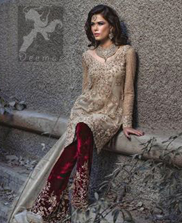 Light Golden Shirt - Deep Red Velvet Trouser and Organza Dupatta