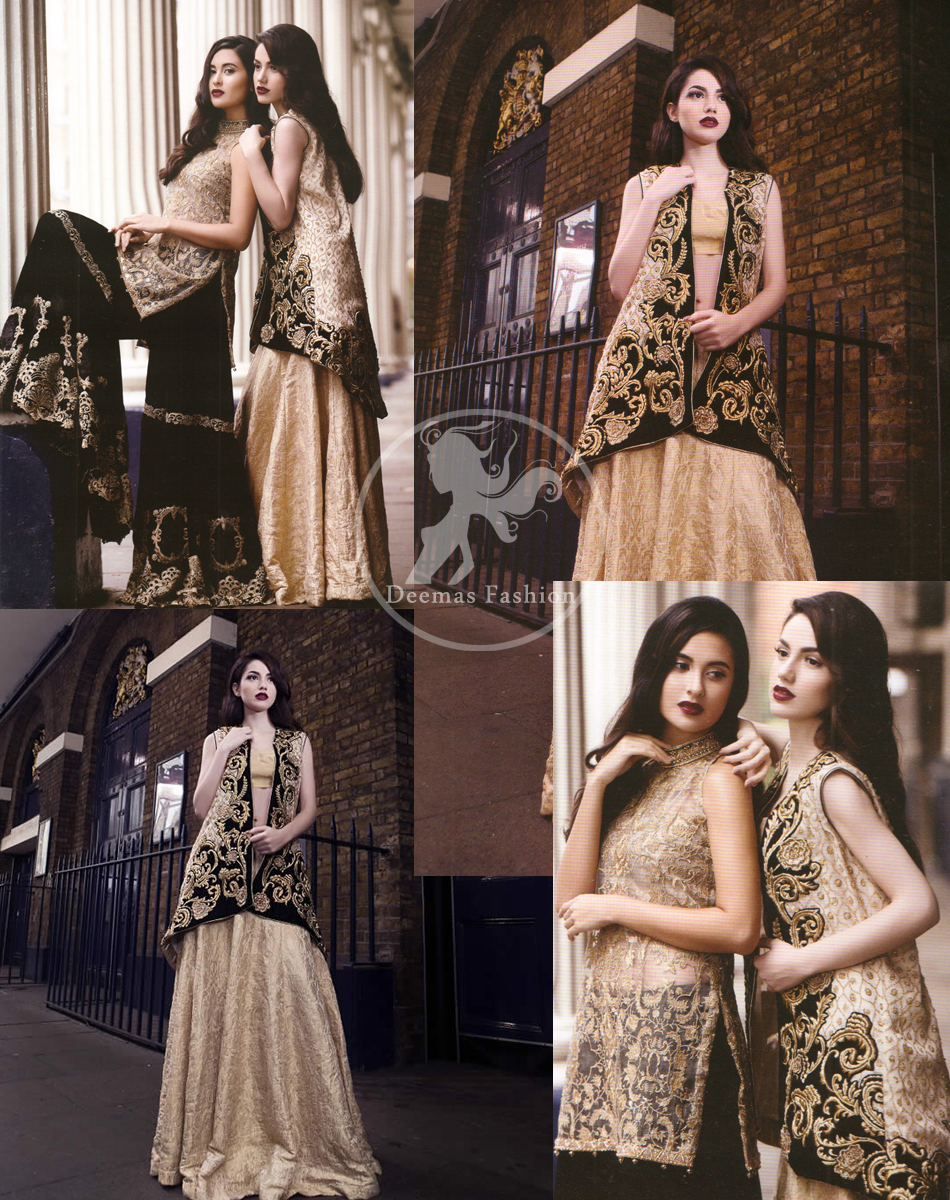 Latest Formal Wear Black Jacket having Light Golden Embroidery with Banarsi Blouse and Lehenga