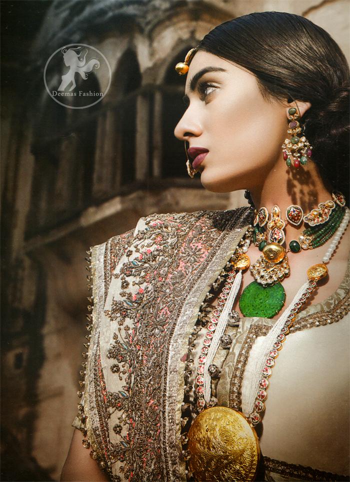 Latest Pakistani Off white Designer Wear Bridal Choli Lehenga