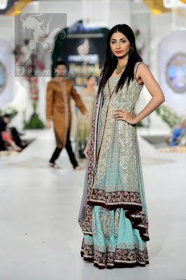 Light Blue Back Trail Bridal Gown with Lehenga and Embroidered Dupatta