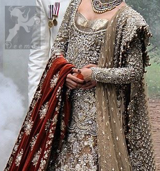 Latest Pakistani Light Brown Fully Embroidered Bridal Shirt with Lehnga and Dupatta