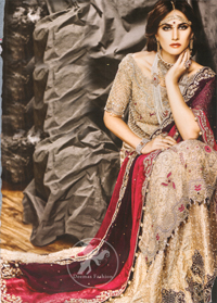 Light-Fawn-Bridal-Wear-Long-Shirt-Lehenga-and-Deep-Red-Dupatta1