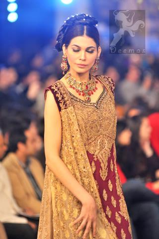 Latest Designer Wear Maroon Fawn Bridal Gown and Sharara and Dupatta