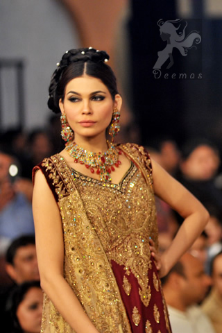 Latest Pakistani Designer Wear Maroon and Fawn Bridal Gown with Sharara and Dupatta