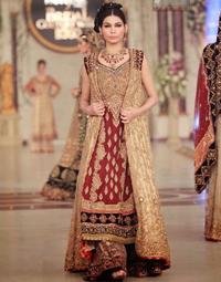 Designer Wear Dress - Deep Red Fawn Bridal Gown - Sharara