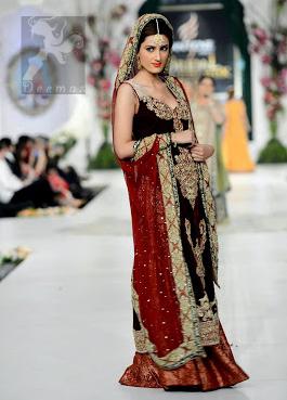 Maroon and Red Embroidered Long Bridal Shirt Dupatta Banarsi Sharara