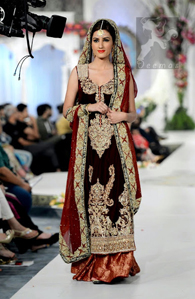 Maroon and Red Embroidered Long Bridal Shirt Dupatta Banarsi Sharara