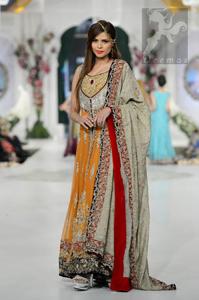 Latest Orange Mehndi Wear Front Open Gown Dupatta