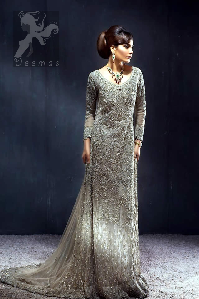 Pakistani Bridal Collection 2016 Light Fawn Back Trail Maxi For Walima